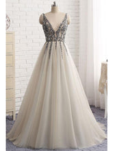 Chic Prom Dresses A-line Rhinestone V-neck Long Prom Dress/Evening Dress JKS168
