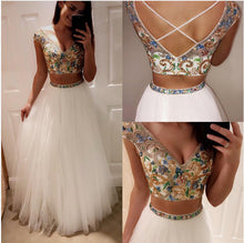 Two Piece Prom Dresses V-neck Floor-length Tulle Sexy Prom Dress/Evening Dress JKS169