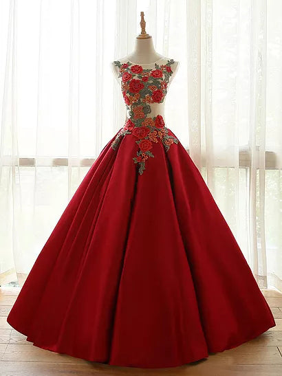 Ball Gown Prom Dresses Floor-length Appliques Burgundy Long Prom Dress/Evening Dress JKS170