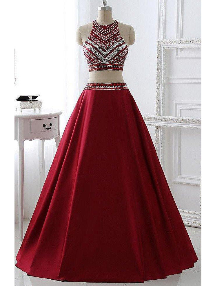 Beautiful Prom Dresses Scoop A-line Floor-length Satin Sexy Prom Dress/Evening Dress JKS176