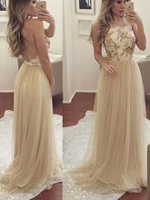 Cheap Prom Dresses Halter A-line Floor-length Appliques Sexy Prom Dress/Evening Dress JKS179