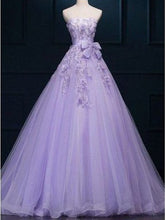 Ball Gown Prom Dresses Floor-length Appliques Lilac Long Prom Dress/Evening Dress JKS184