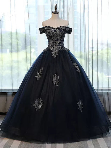 Chic Wedding Dresses Ball Gown Off-the-shoulder Dark Navy Tulle Bridal Gown JKS187