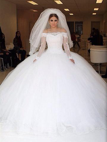 Luxury Wedding Dresses Off-the-shoulder Ball Gown Chic Bridal Gown JKS188