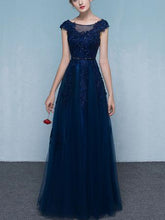 Chic Red Prom Dresses Floor-length Appliques Dark Navy Long Prom Dress/Evening Dress JKS195