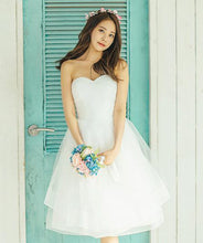 Short Wedding Dresses A-line Knee-length Ivory Tulle Beautiful Bridal Gown JKS197