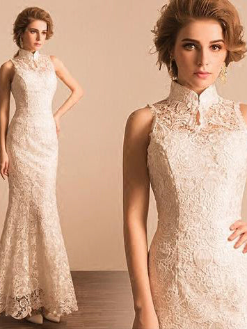 Sexy Wedding Dresses Hign Neck Trumpet/Mermaid Floor-length Lace Bridal Gown JKS199