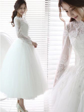 Short Wedding Dresses Scoop Long Sleeves Tea-length Chic Bridal Gown JKS200