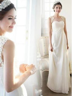 Cheap Wedding Dresses Scoop A-line Floor-length Chiffon Ivory Chic Bridal Gown JKS205