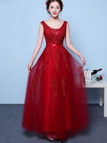 Chic Prom Dresses Straps Appliques Burgundy Long Sexy Prom Dress/Evening Dress JKS210