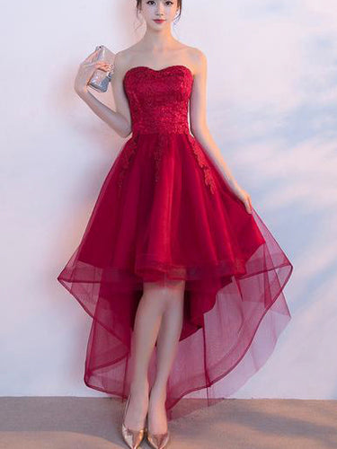 Beautiful Prom Dresses Asymmetrical Sweetheart Lace Burgundy Prom Dress/Evening Dress JKS211