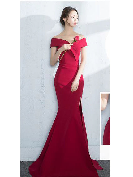 Sexy Slit Prom Dresses Trumpet/Mermaid Off-the-shoulder Short Train Prom Dress/Evening Dress JKS212