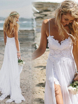 Cheap Wedding Dresses Spaghetti Straps Lace Ivory Simple Beach Bridal Gown JKS213