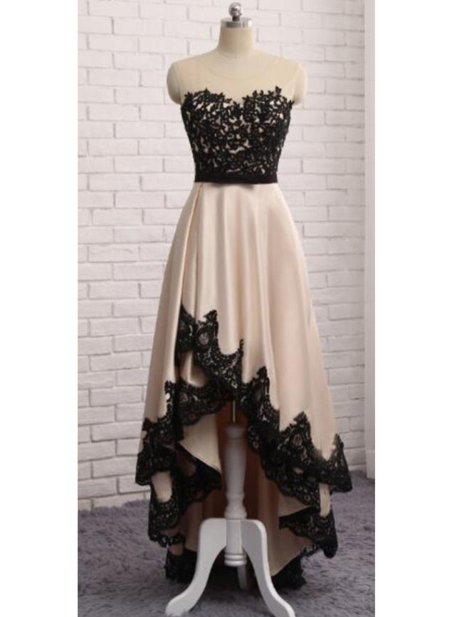 High Low Prom Dresses Scoop Black Appliques Sexy Long Prom Dress/Evening Dress JKS214