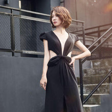 Black Prom Dresses V-neck Sweep/Brush Train Sexy Long Prom Dress/Evening Dress JKS217