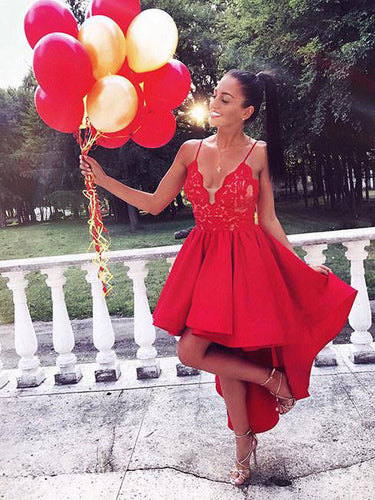 High Low Prom Dresses Spaghetti Straps Lace Long Sexy Red Prom Dress/Evening Dress JKS218