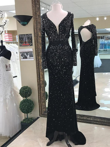 Luxury Prom Dresses Sheath/Column V-neck Long Sleeves Short Train Sexy Prom Dress/Evening Dress JKS219