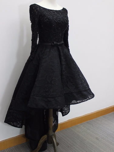 High Low Prom Dresses Scoop Lace Beading Long Sleeves Sexy Black Prom Dress/Evening Dress JKS220