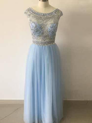 Chic Prom Dresses A-line Floor-length Rhinestone Sexy Prom Dress/Evening Dress JKS225