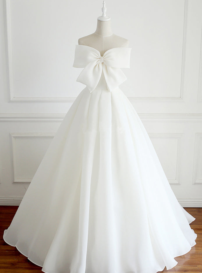 Beautiful Wedding Dresses Strapless Ivory Organza Bowknot Bridal Gown JKS227