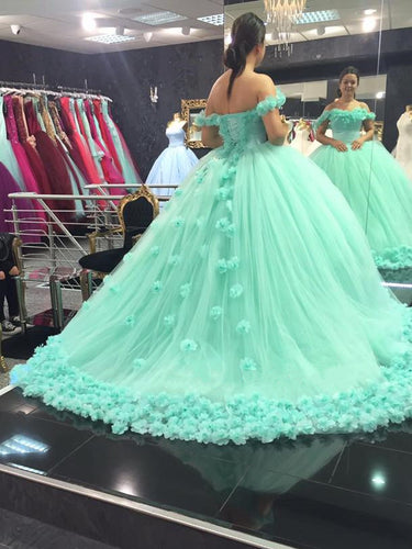 Ball Gown Wedding Dresses Off-the-shoulder Hand-Made Flower Tulle Bridal Gown JKS231