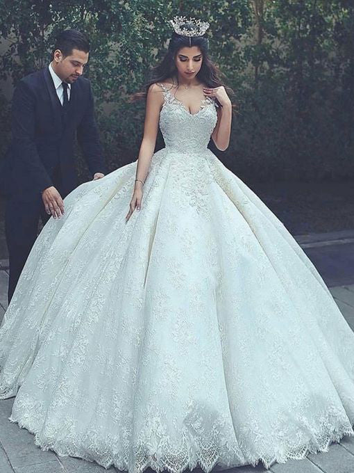 Luxury Wedding Dresses Spaghetti Straps Ball Gown Lace Bridal Gown JKS232
