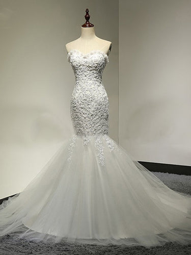 Chic Wedding Dresses Sweetheart Trumpet/Mermaid Ivory Bridal Gown JKS233