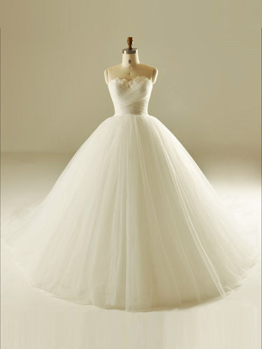 Ball Gown Wedding Dresses Sweetheart Sweep/Brush Train Plume Bridal Gown JKS234