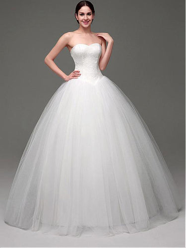 Chic Wedding Dresses Sweetheart Ball Gown Floor-length Lace Bridal Gown JKS235