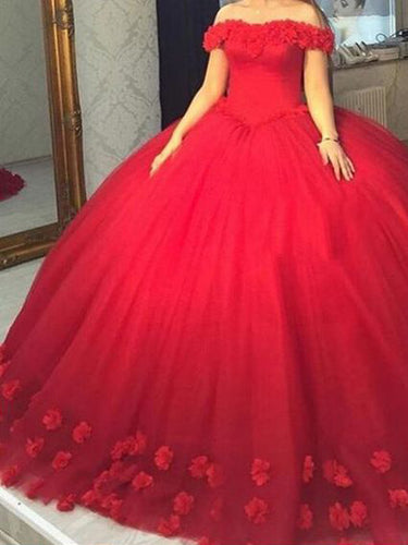 Beautiful Wedding Dresses Off-the-shoulder Ball Gown Hand-Made Flower Red Bridal Gown JKS236