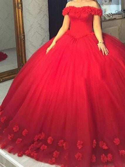 Red Wedding Dresses.Beautiful Wedding Dresses Off The Shoulder Ball Gown Hand Made Flower Red Bridal Gown Jks236