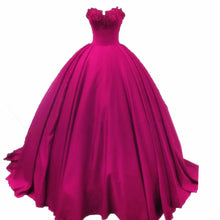 Ball Gown Wedding Dresses Sweetheart Sweep/Brush Train Burgundy Bridal Gown JKS237