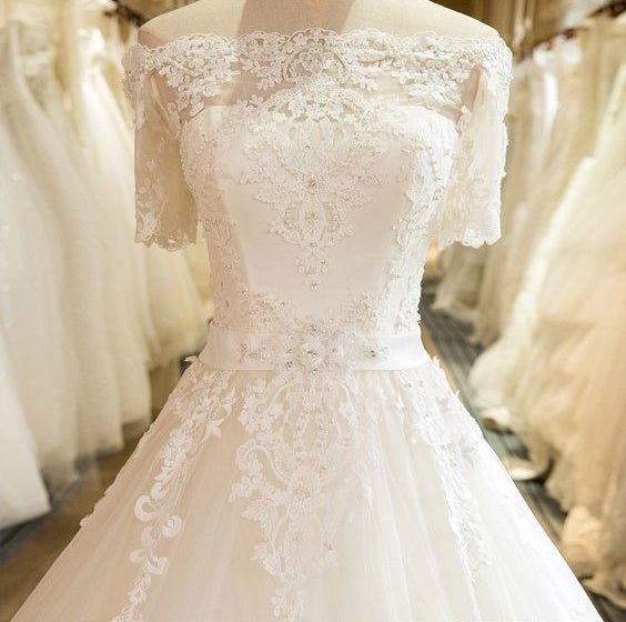 Beautiful Wedding Ball Gowns: Beautiful Wedding Dresses Off-the-shoulder Ball Gown Lace