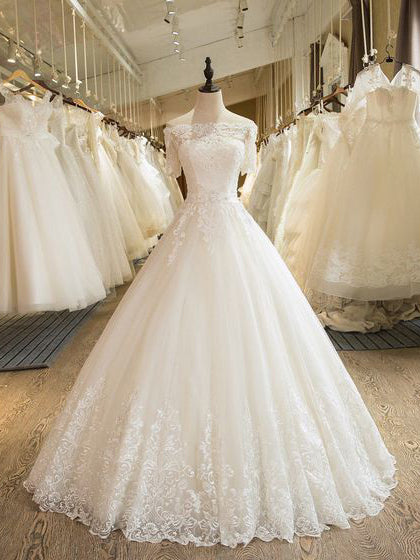 Beautiful Wedding Dresses Off-the-shoulder Ball Gown Lace Ivory Bridal Gown JKS243