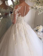 Chic Wedding Dresses Scoop Long Sleeve Ball Gown Beading Bridal Gown JKS245|Annapromdress