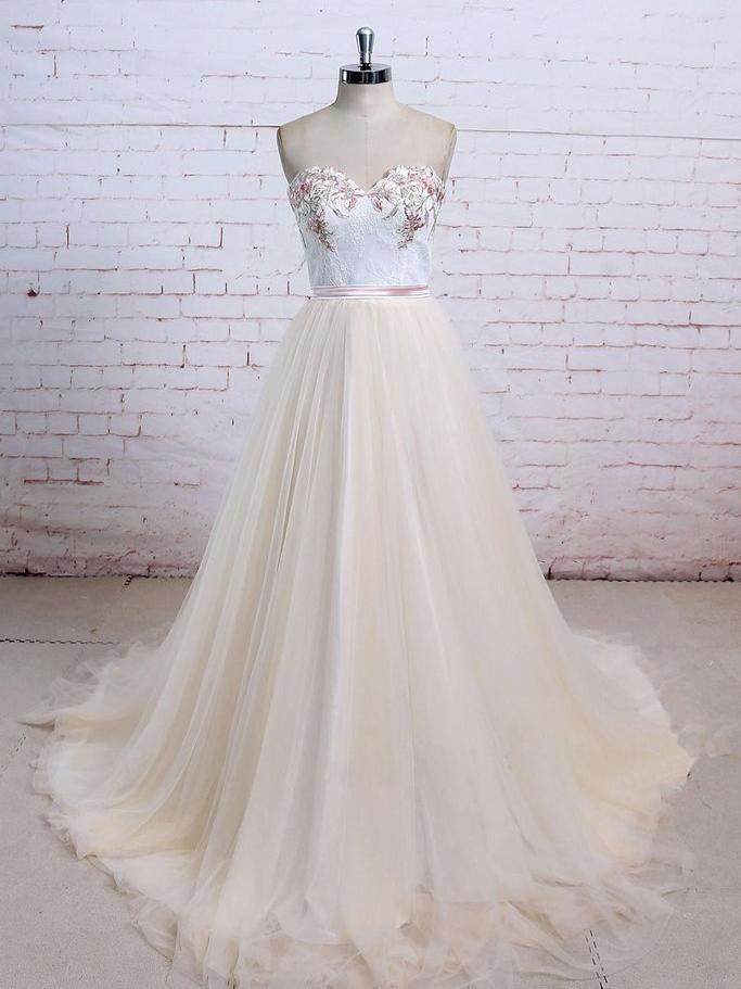 Sexy Wedding Dresses Ball Gown Sweep/Brush Train Lace Bridal Gown JKS250