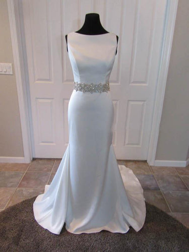 Chic Wedding Dresses Sheath/Column Elastic Woven Satin Sexy Bridal Gown JKS251