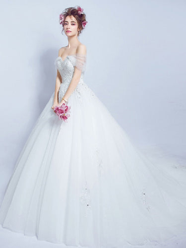 Ball Gown Wedding Dresses Off-the-shoulder Appliques Sexy Bridal Gown JKS253