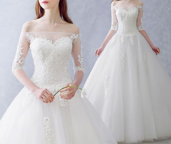 Korean Wedding Gowns: Chic Wedding Dresses Ball Gown Floor-length Tulle Ivory