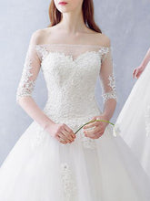 Chic Wedding Dresses Ball Gown Floor-length Tulle Ivory Bridal Gown JKS254