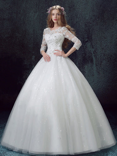 Sexy Wedding Dresses Ball Gown Appliques Sequins Beautiful Bridal Gown JKS256