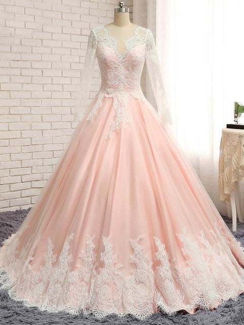 Chic Wedding Dresses Ball Gown Sweep/Brush Train Lace Bridal Gown JKS257