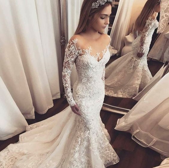 30 Exquisite Elegant Long Sleeved Wedding Dresses Chic: Luxury Wedding Dresses Trumpet/Mermaid Long Sleeve Sexy