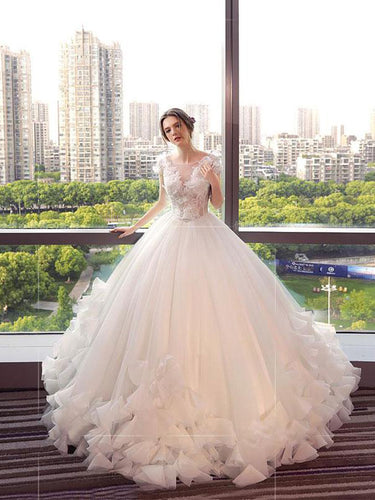 Beautiful Wedding Dresses Ball Gown Floor-length Lace-up Tulle Lace Bridal Gown JKS262
