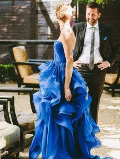 Chic Wedding Dresses A-line Strapless Short Train Royal Blue Long Bridal Gown JKS264