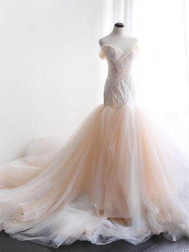 Mermaid Wedding Dresses Off-the-shoulder Sweep Train Appliques Tulle Sexy Bridal Gown JKS265