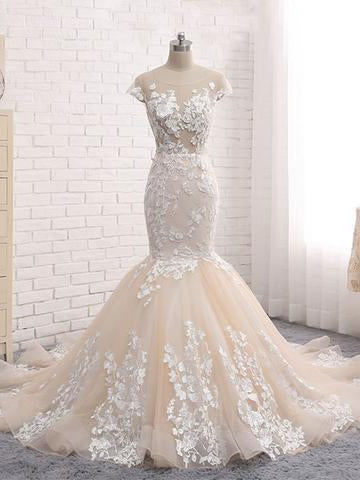 Chic Wedding Dresses Backless Trumpet Mermaid Scoop Lace Long Sexy Bridal Gown JKS266