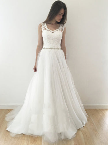 Unique Wedding Dresses A-line Rhinestone Lace Long Chic Bridal Gown JKS268