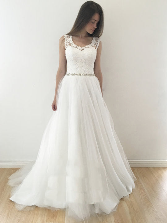 Unique Wedding Dresses A-line Rhinestone Lace Long Chic Bridal Gown ...