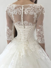 Ball Gown Wedding Dresses Scoop Sweep Train Lace Tulle Chic Bridal Gown JKS271